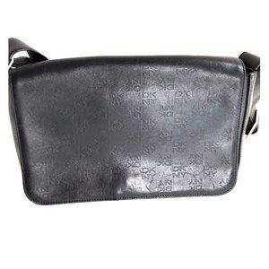DKNY black leather shoulder envelope bag